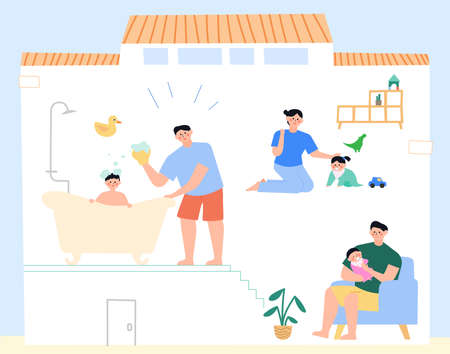 Daily lifestyle in house, daily routine in flat illustration Ilustrace