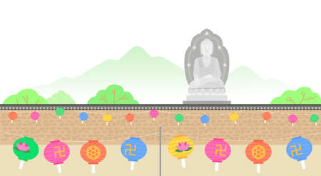 Buddhist event concept, a lighting ceremony to celebrate Buddha's birthday illustration 向量圖像