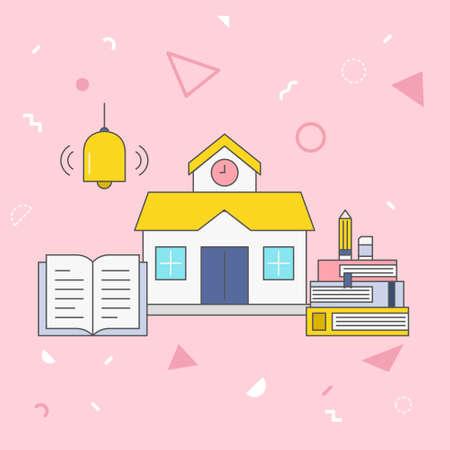 School vector illustration on pink background. 矢量图像