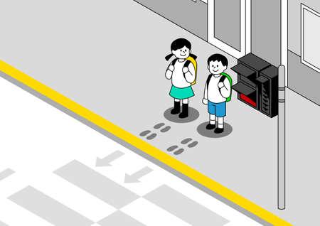 Children traffic safety concept illustration 스톡 콘텐츠 - 152855643