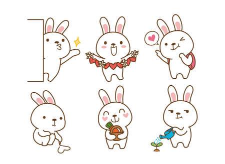 Set of Emoticons. Emoji character cartoon animals illustration