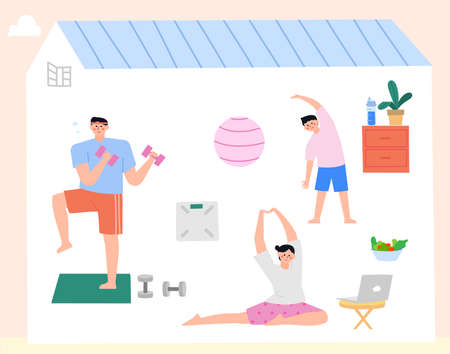Daily lifestyle in house, daily routine in flat illustration Ilustracja