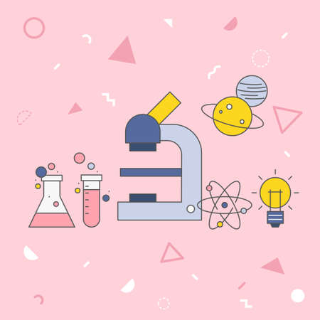 Science vector illustration on pink background. 스톡 콘텐츠 - 152855737