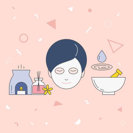 Beauty vector illustration on pink background. 向量圖像