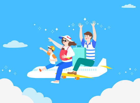 Happy and cheerful travelers concept illustration Illustration