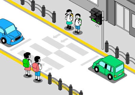 Children traffic safety concept illustration 스톡 콘텐츠 - 152855872