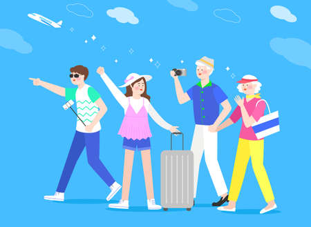 Happy and cheerful travelers concept illustration