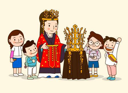 Children's education concept, forebears teaching children illustration