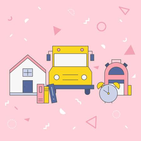 Flat vector illustration about school.