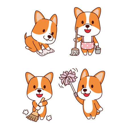 Set of animal emoticon. Cartoon dog in different job characters illustration 005