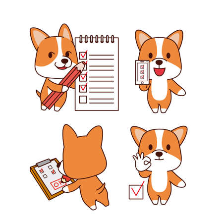 Set of animal emoticon. Cartoon dog in different job characters illustration 014