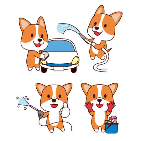 Set of animal emoticon. Cartoon dog in different job characters illustration 007