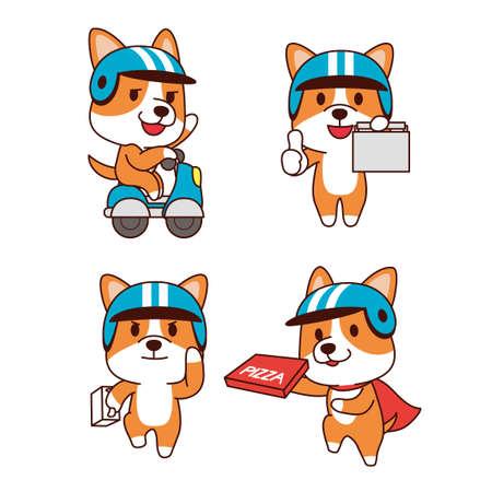 Set of animal emoticon. Cartoon dog in different job characters illustration 004 Illusztráció
