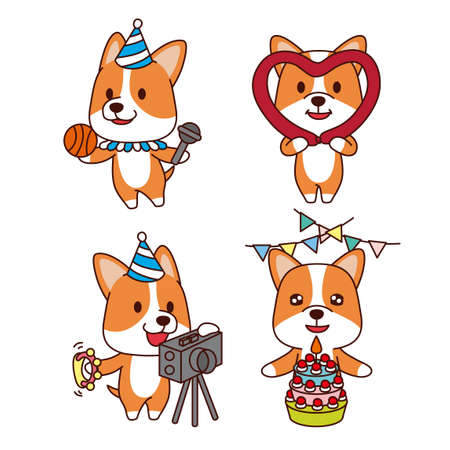 Set of animal emoticon. Cartoon dog in different job characters illustration 012