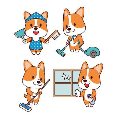 Set of animal emoticon. Cartoon dog in different job characters illustration 006 Illusztráció