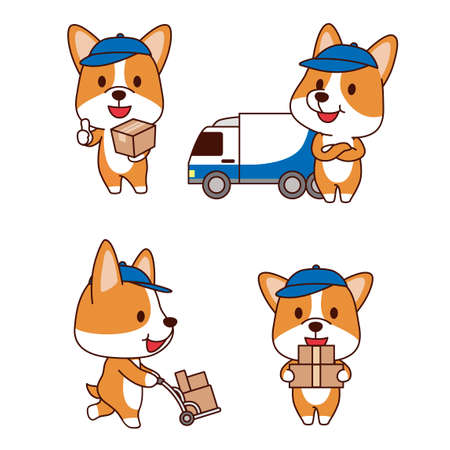 Set of animal emoticon. Cartoon dog in different job characters illustration 001