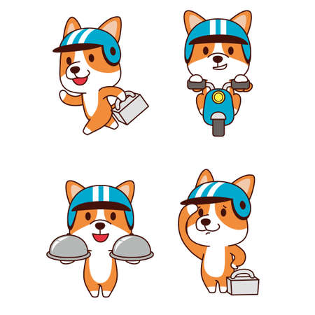 Set of animal emoticon. Cartoon dog in different job characters illustration 003