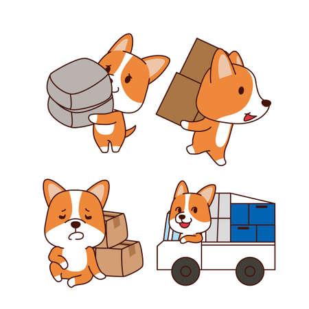 Set of animal emoticon. Cartoon dog in different job characters illustration 010 Illusztráció