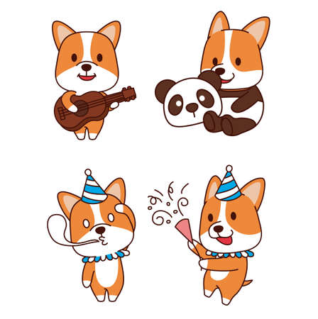 Set of animal emoticon. Cartoon dog in different job characters illustration 013