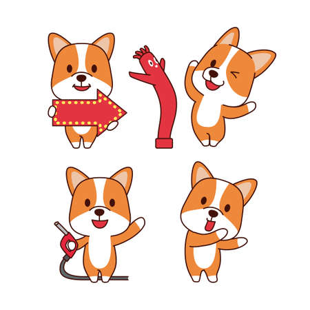 Set of animal emoticon. Cartoon dog in different job characters illustration 008