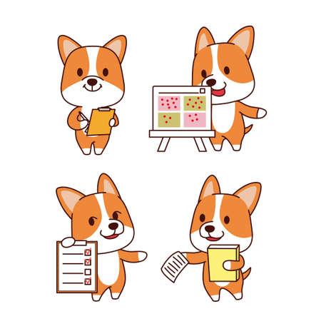 Set of animal emoticon. Cartoon dog in different job characters illustration 015 Illusztráció