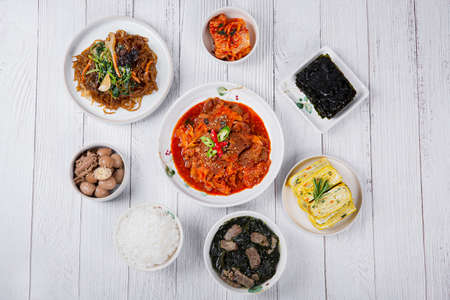 Delicious Korean food, a collection of various Korean dishes 292