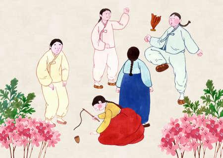 Concept of Korean traditional color prints illustration 006