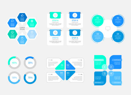 Set of infographic elements in flat design style illustration 003 Çizim
