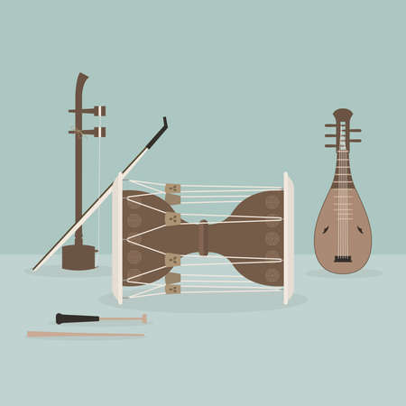 Korean traditional musical instrument vector illustration.
