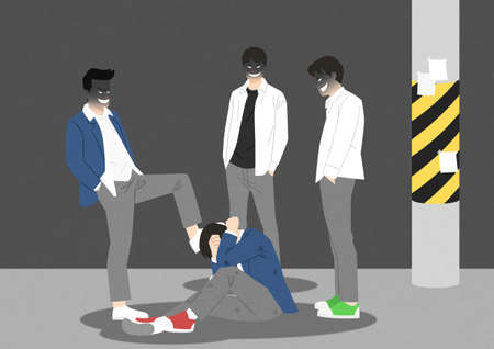 Juvenile delinquency concept, Problem of teenagers illustration 001