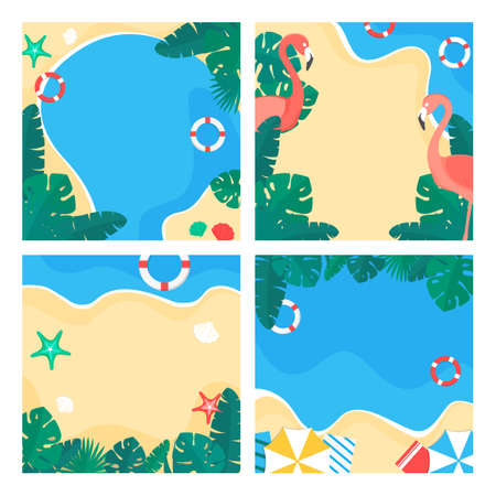 Set of colorful summer background designs illustration 008