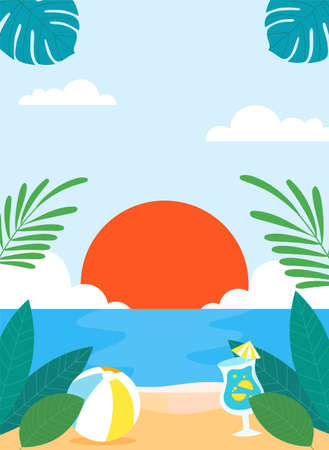 Tropical summer background illustration 006 Vector Illustratie