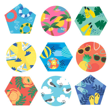 Tropical summer sticker label set illustration 005