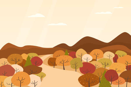 Illustration of landscape with brown trees in autumn.
