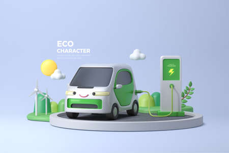 eco friendly 3D rendering electric car character, environment protection concept