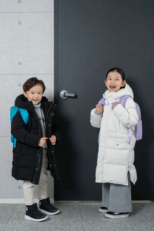 Asian boy and girl ready to go to school Stock Photo