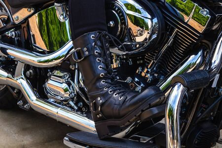 Motorcycle Riders Boot Stock Photo