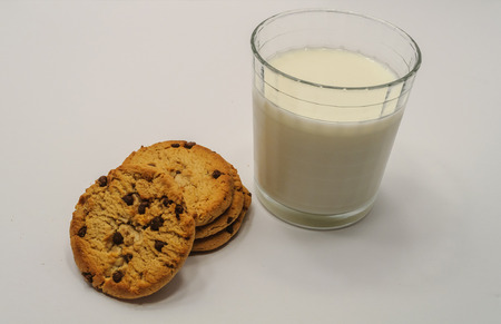 Glass of milk and chocolate chip cookies.