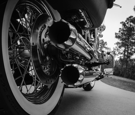 chrome: Motorcycle Dual Chrome Exhaust