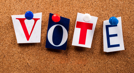 Red White Blue Vote Letters on Board