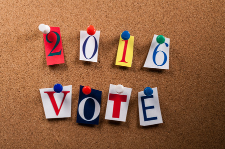 2016 Vote Letters on Board Stock Photo