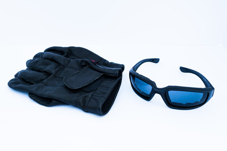 Motorcycle Rider Gloves and Glasses