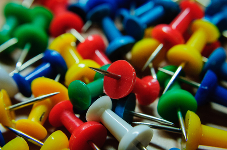 push in pins: Colorful Push Pins Stock Photo