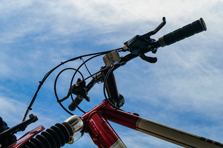 Bicycle Handle Bars Against a Blue Sky