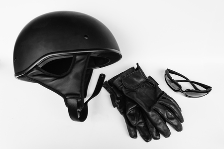 Motorcycle Rider Helmet, Gloves and Sunglasses