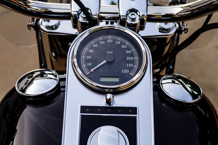 chrome: Motorcycle Chrome Instrument Control Console Stock Photo