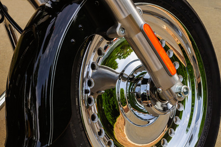 Motorcycle Front Wheel, Fender and Chrome Wheel Stock Photo