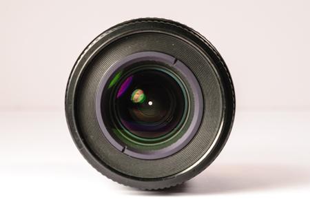 Single Camera Lens On White Background
