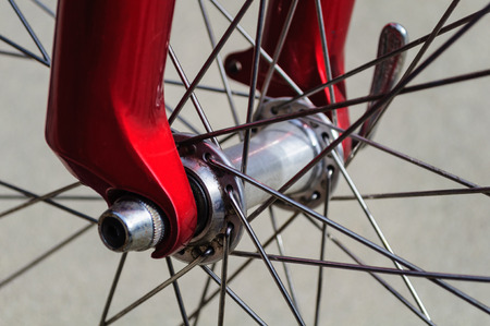 Red Bicycle Wheel Forks And Spokes Stock Photo