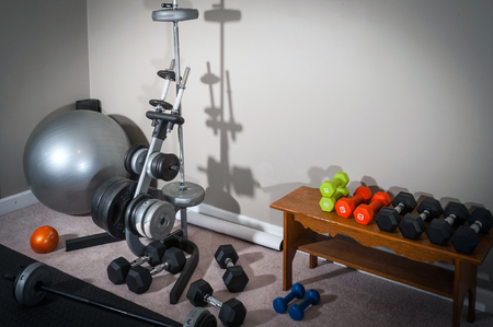 home gym: Home Gym Workout Room Stock Photo